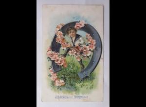 Namenstag, Kinder, Mode, Matrose, Hufeisen, Blumen, 1908, Prägekarte ♥ (69759)