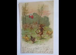 Ostern, Hasen, Küken, Fußball, Eier, 1902, Glitzerkarte ♥ (65789)