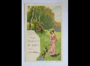 Pfingsten, Frauen, Rehe, Landschaft, 1900 ♥ (31096)