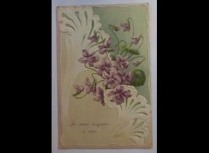 Jugendstil, Blumen, Veilchen, 1908, Prägekarte ♥ (17214)