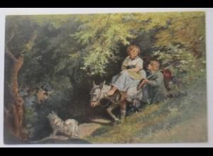 Esel, Ritt durch den Wald, 1910, L. Richter ♥ (56074)