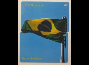 2. Telefonkarten Brasilien Fahne, Nr. 40 ♥ (25908)
