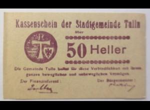 Notgeld Österreich 50 Heller Der Stadtgemeinde Tulin 1920 ♥ (8795)