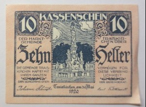 Notgeld Österreich Die Geimeinde Traiskirchen 10 Heller 1920 ♥ (8828)