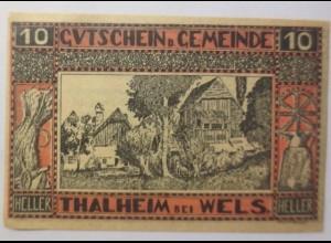 Notgeld Österreich 10 Heller Gemeinde Thalheim 1920 ♥ (8873)