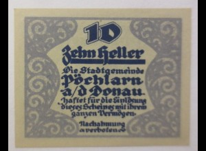 Notgeld Österreich 10 Heller Stadtgemeinde Pöchlarn a.d. Donau 1920 ♥ (9015)