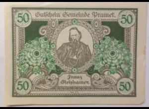 Notgeld Österreich 50 Heller Die Stadtgemeinde Pramet 1920 ♥ (9051)
