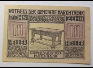 Notgeld Österreich 10 Heller Der Gemeinde Marchtrenk 1920 ♥ (9108)