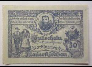 Notgeld Österreich 30 Heller Die Gemeinde Mauerkirchen 1920 ♥ (9119)