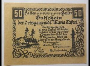 Notgeld Österreich 50 Heller Der Ortsgemeinde Maria Taferl 1920 ♥ (9134)