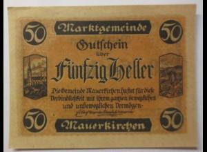 Notgeld Österreich 50 Heller Gemeinde Mauerkirchen ♥ (9203)