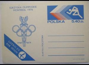Polen Ganzsache Olympia Montreal 1976