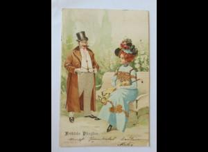 Pfingsten, Männer, Frauen, Mode, 1902 ♥ (20316)