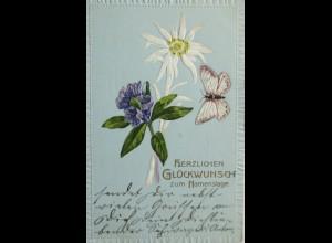 """""""Namenstag, Blumen, Schmetterling"""" 1907, Prägekarte ♥ (1222)"""