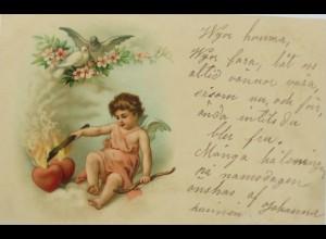 Valentinstag, Engel, Herz, Feuer, Tauben, 1900 ♥ (12394)