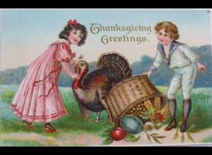 Thanksgiving, Greetings, Erntedankfest, Truthahn, 1910, Prägekarte ♥ (12499)