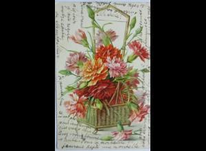 """""""Blumen, Nelken, Korb"""" 1905, Prägekarte ♥ (12948)"""