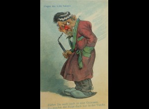 """""""Männer, Pfeife, Grimasse"""" 1900, Halt gegen das Licht, Ein Schuh ♥ (13552)"""