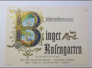 Weinetikett, Binger Rosengarten, Steinheim am Main, 1960 ♥