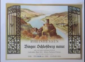 Weinetikett, Rheinhessen, Binger Schloßbergn natur, Klein Auheim, 1960 ♥