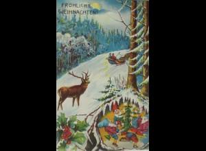 """""""Weihnachten, Zwerg, Ringelreihe, Pferde Kutsche, Mond"""" 1909 ♥ (15548)"""