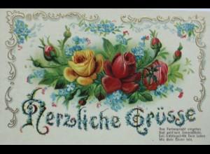 Blumen, Rosen, Jugendstil, Spruch, 1908, Prägekarte ♥ (12947)