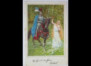 Ritter und Frau, Litho 1899 aus Österreich