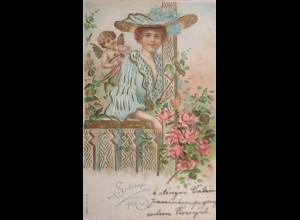 Valentinstag, Hut, Engel, Rosen, 1906, Prägekarte ♥ (2053)