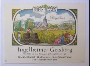 Weinetikett, Rheinhessen, Ingelheimer Geisberg, Klein-Auheim 1960 ♥