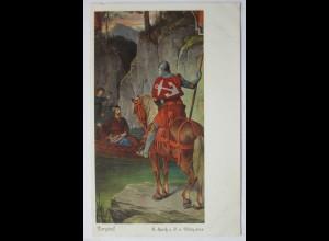 Mittelalter, Ritter, Parsifal begegnet dem kranken Amforias am See