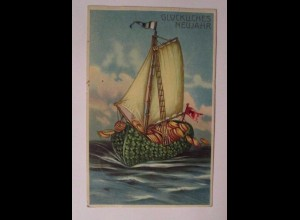 Neujahr, Boot, Münzen, Kleeblatt, Meer, 1905, Prägekarte ♥ (23715)