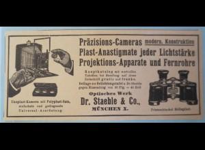 Werbung, Reklame ca. 1910, Kamera,Fotoapparat Staeble Kameras, Fernglas