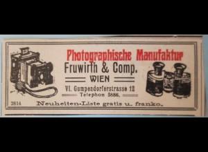 Werbung, Reklame aus Zeitung ca. 1910, Fotoapparat Fruwirth Wien (23803)