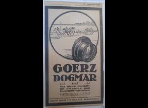 Werbung, Reklame 1918, Fotoapparat Goerz Dogmar Objektiv