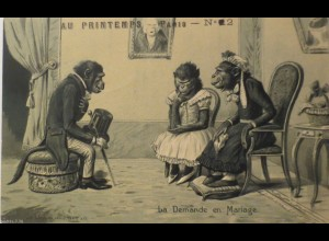 """""""Personifizierter, Vermenschlichte, Affen, Zylinder"""" 1900, Prägekarte ♥ (25246)"""