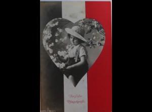 Pfingsten, Kinder, Mode, Herz, Fahne, 1916 ♥ (3430)