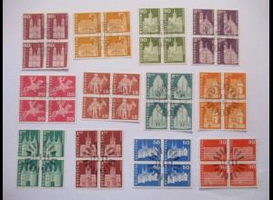 Schweiz, 22 Werte Freimarken Viererblocksatz gestempelt (26702)