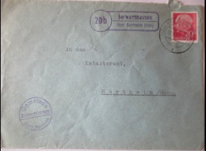 Landpoststempel Berwartshausen über Northeim (Hannover), 1957