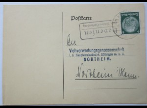 D.Reich, Landpoststempel Hevensen über Nörten-Hardenberg 1934