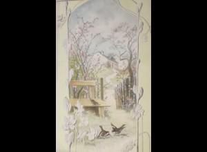 """""""Vogel, Landschaft, Bank"""" 1900 ♥ (29156)"""