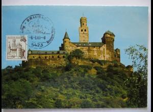 Deutschland Maximumkarte Marksburg bei Braubach am Rhein