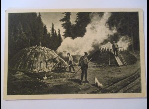 Berufe, Holz, Köhler im Schwarzwald (Baden Württemberg)