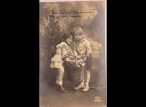 Namenstag, Kinder, Mode, Korb, Blumen, 1910 ♥ (3022)