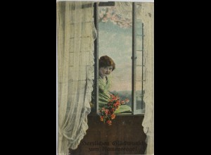 Namenstag, Kinder, Mode, Fenster, 1914 ♥ (3039)