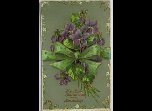 """Namenstag, Blumen"" 1909, Golddruckkarte ♥"