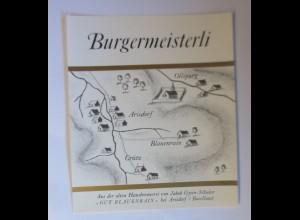 Schnapsetikett, Burgermeisterli, Gut Blauenrain bei Arisdorf 1966 ♥