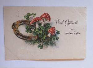 Neujahr, Pilze, Hufeisen, 1931 ♥ (32523)