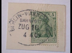Eisenbahn Bahnpost Berlin Warnemünde Zug 16 Briefstück 1909 (32758)