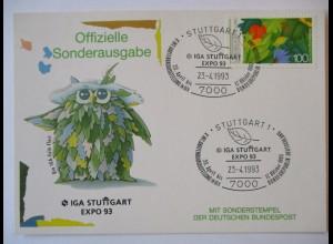 Blumen Eule, IGA Stuttgart 1993, Sonderkarte