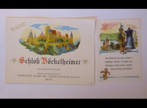 Weinetikett, Nahe, Schloß Böckelheimer, Klein Auheim, 1960 ♥